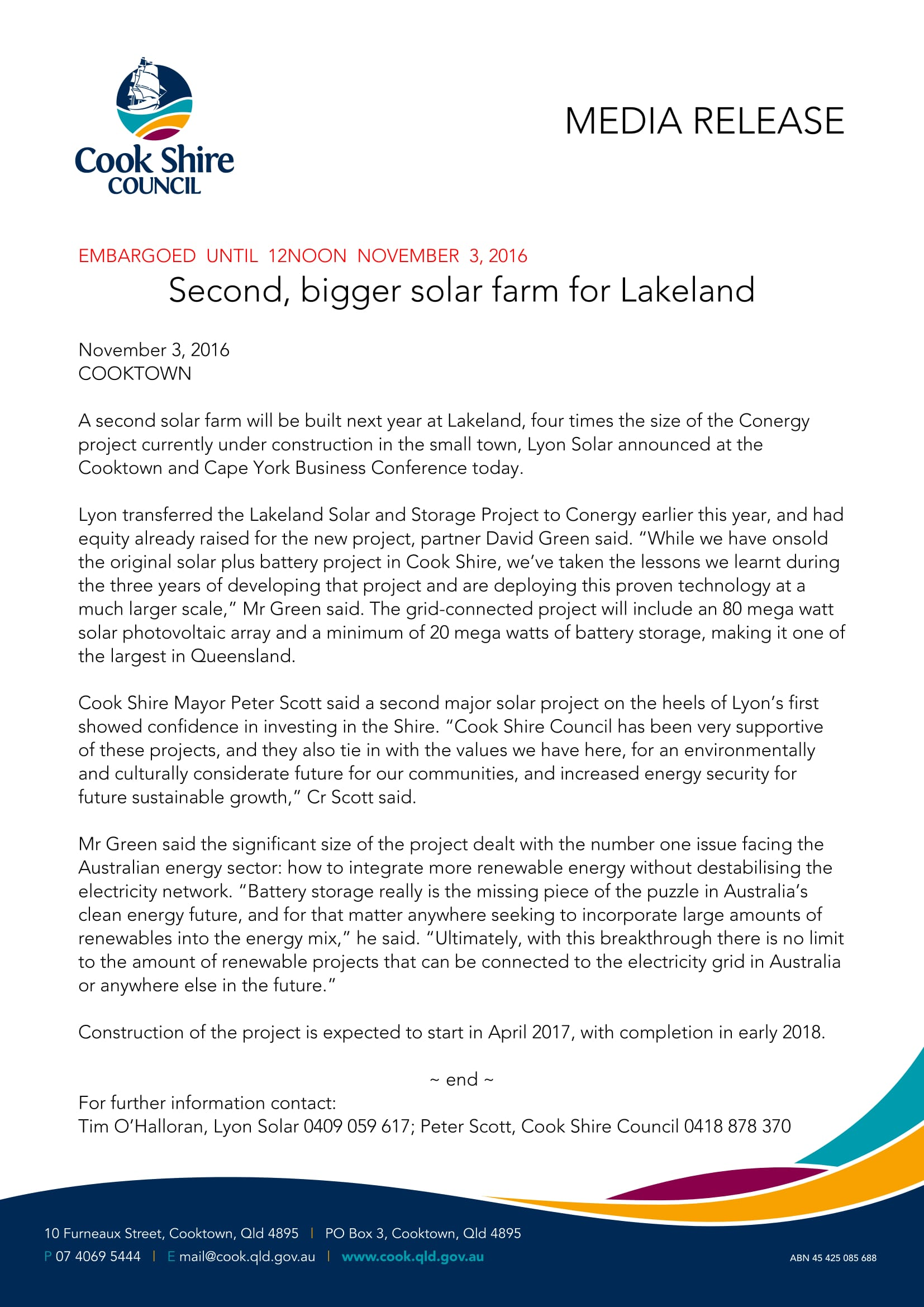 Media Release - Lyon announces second solar plus battery project at Lakeland