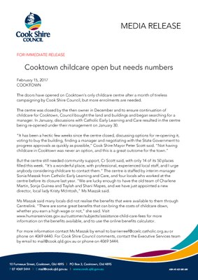 Cooktown childcare open but needs numbers