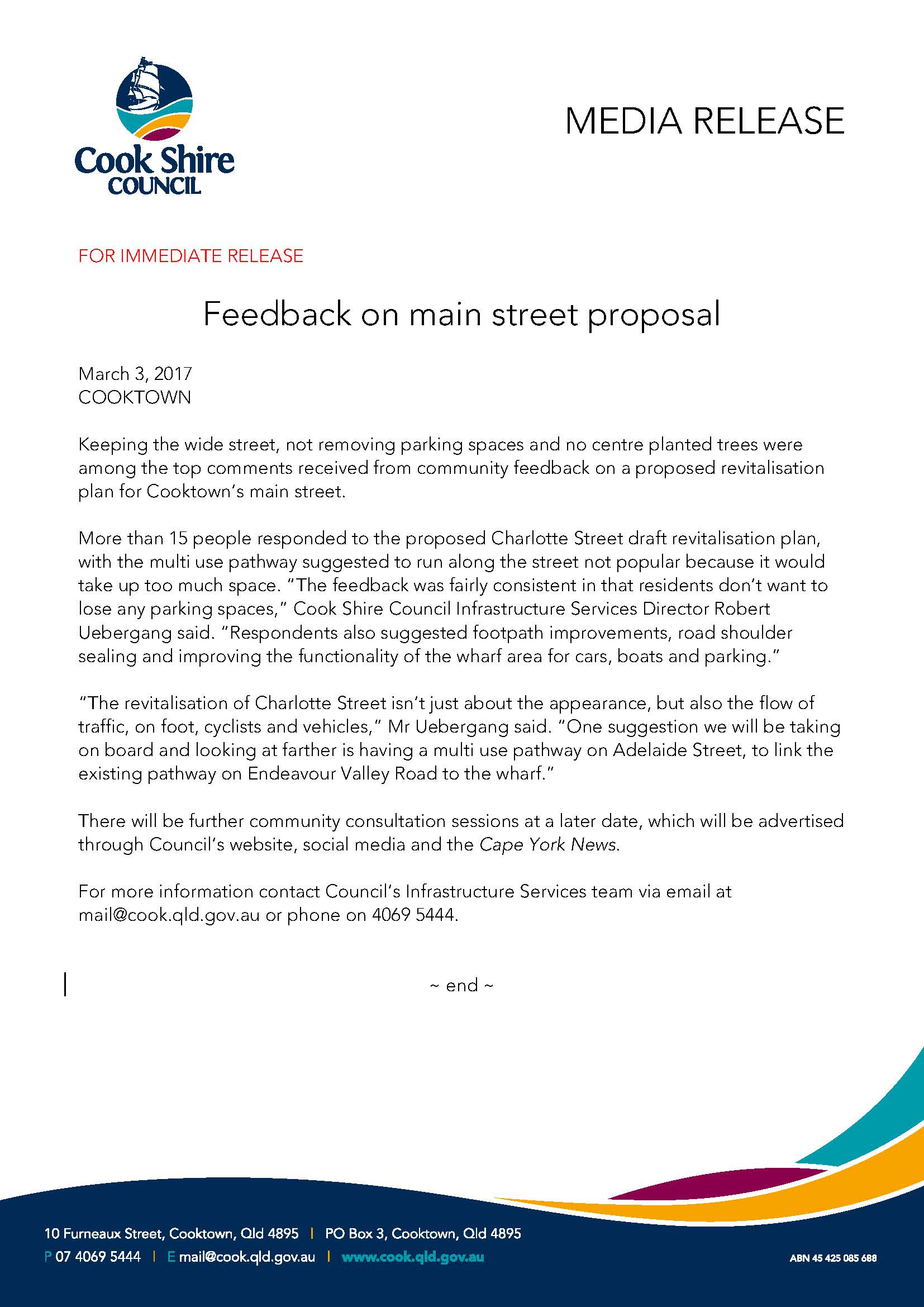 Feedback on main street proposal