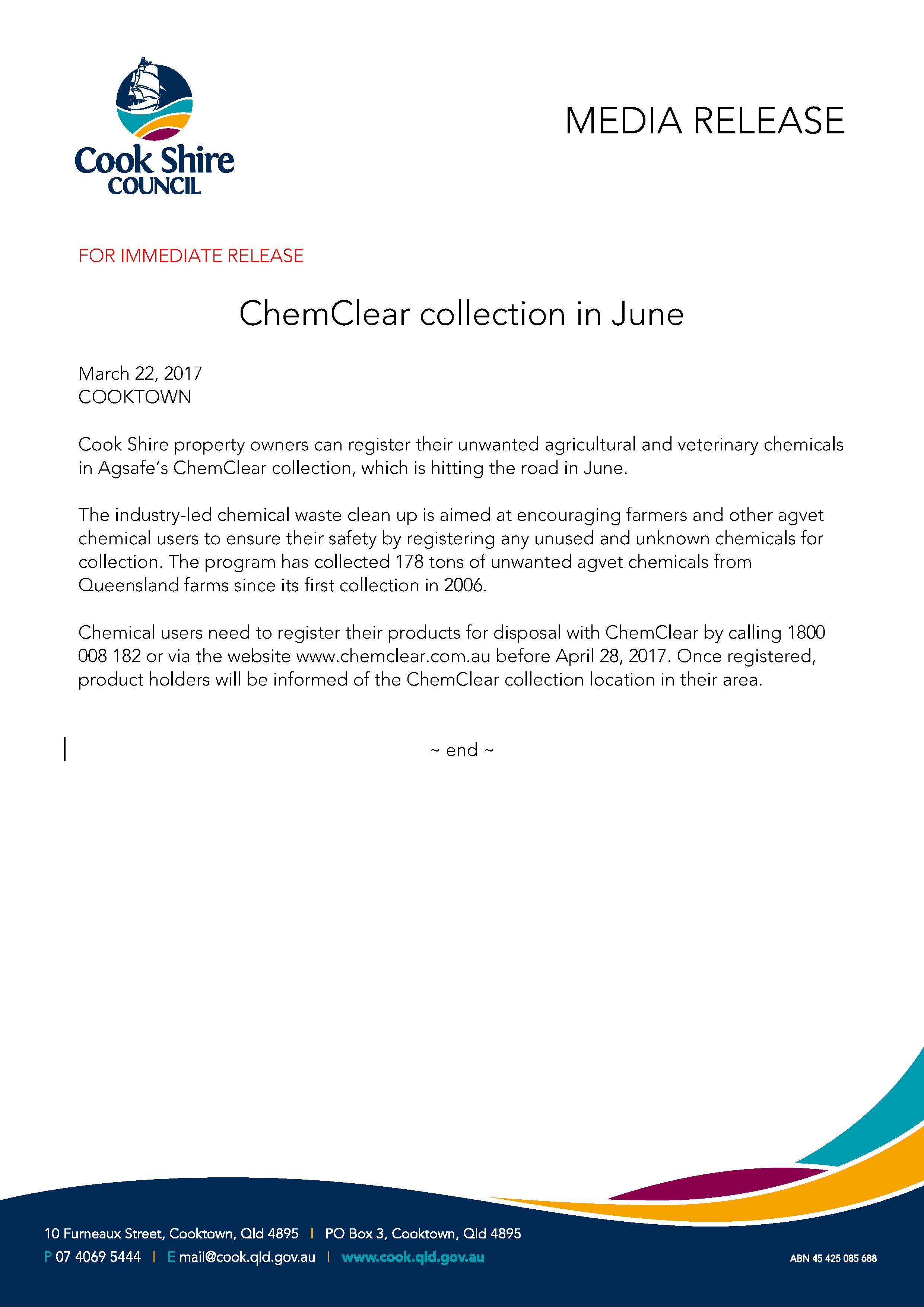 ChemClear collection in June