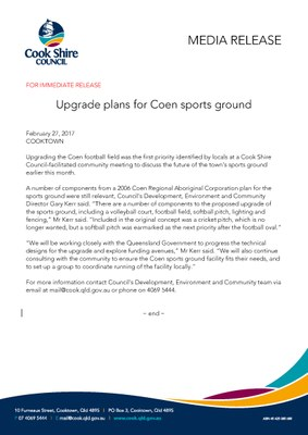 Upgrade plans for Coen sports ground