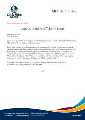 Join us to mark 10th Earth Hour