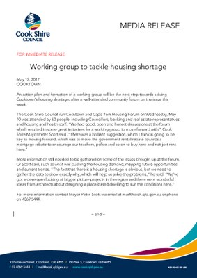 Working group to tackle housing shortage
