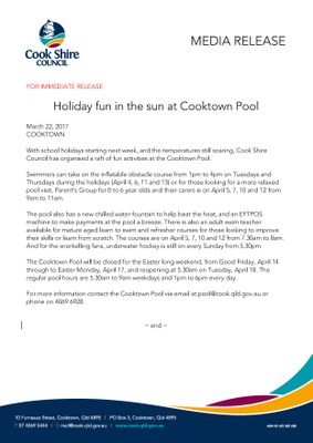 Holiday fun in the sun at Cooktown Pool