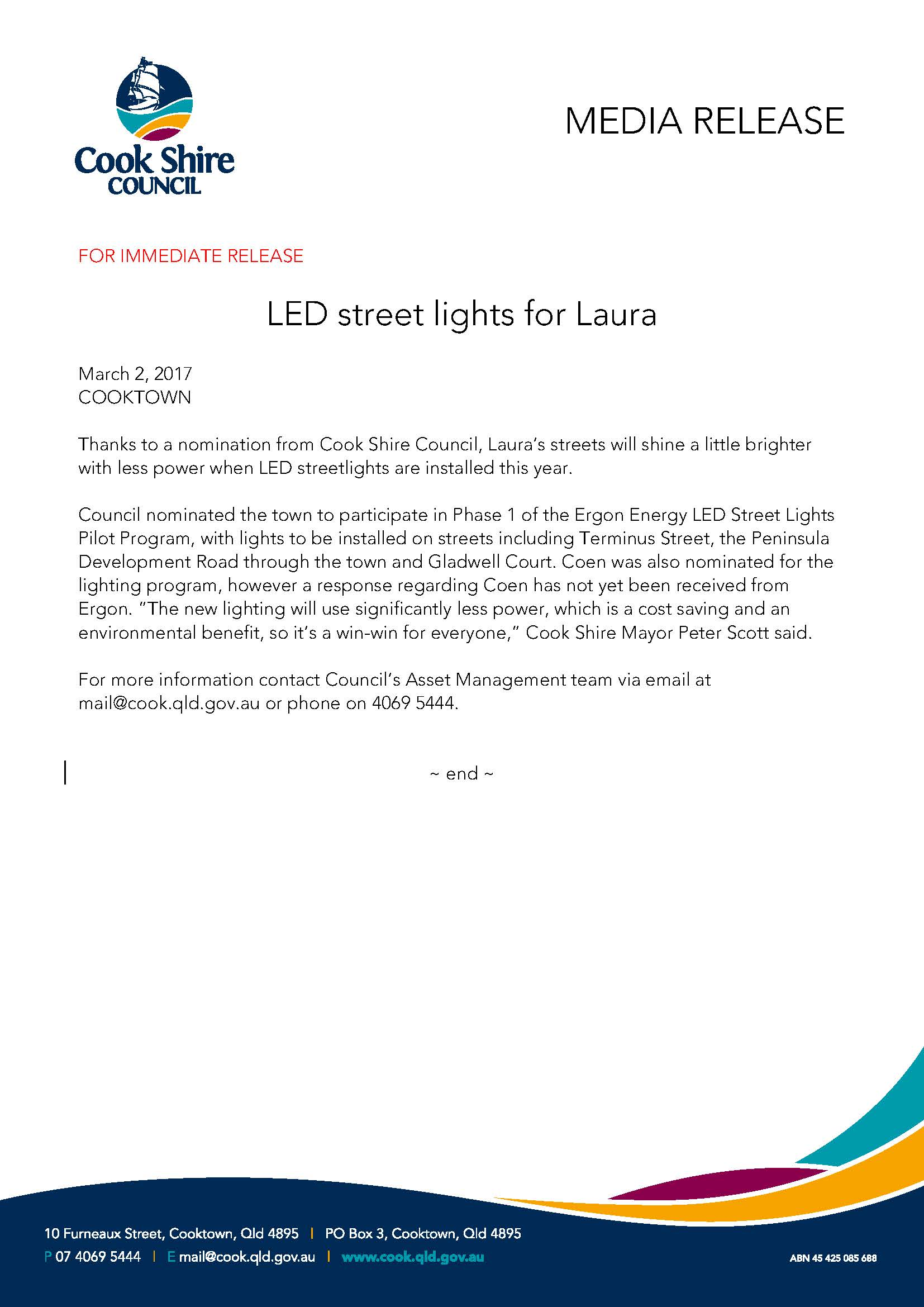 LED street lights for Laura