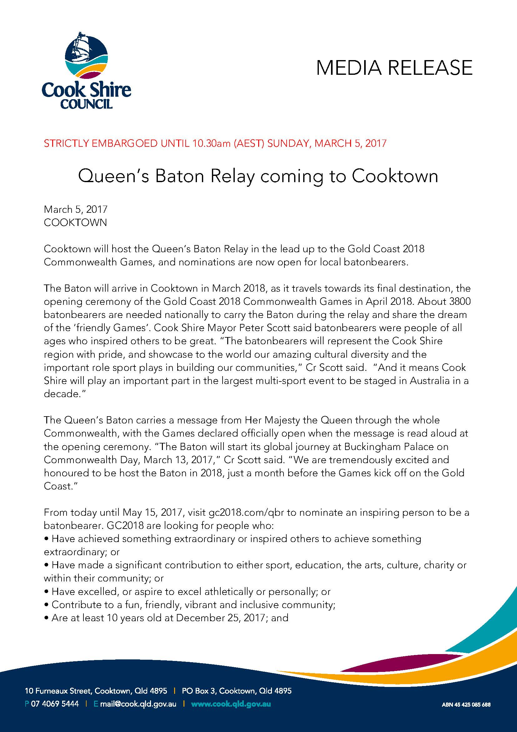 Queen's Baton Relay coming to Cooktown
