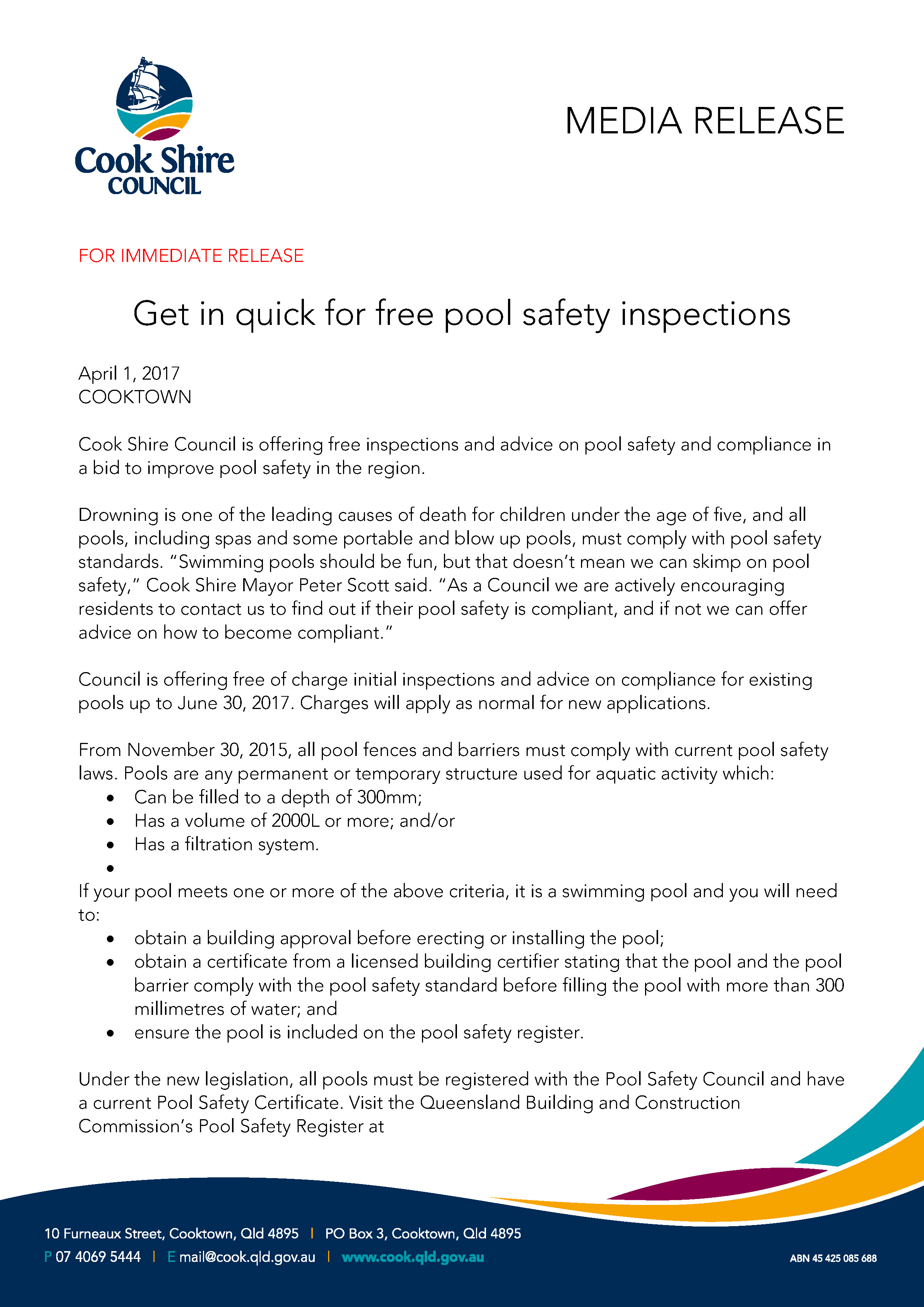Get in quick for free pool safety inspections