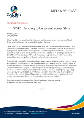 $2.47m in funding to be spread across the Shire