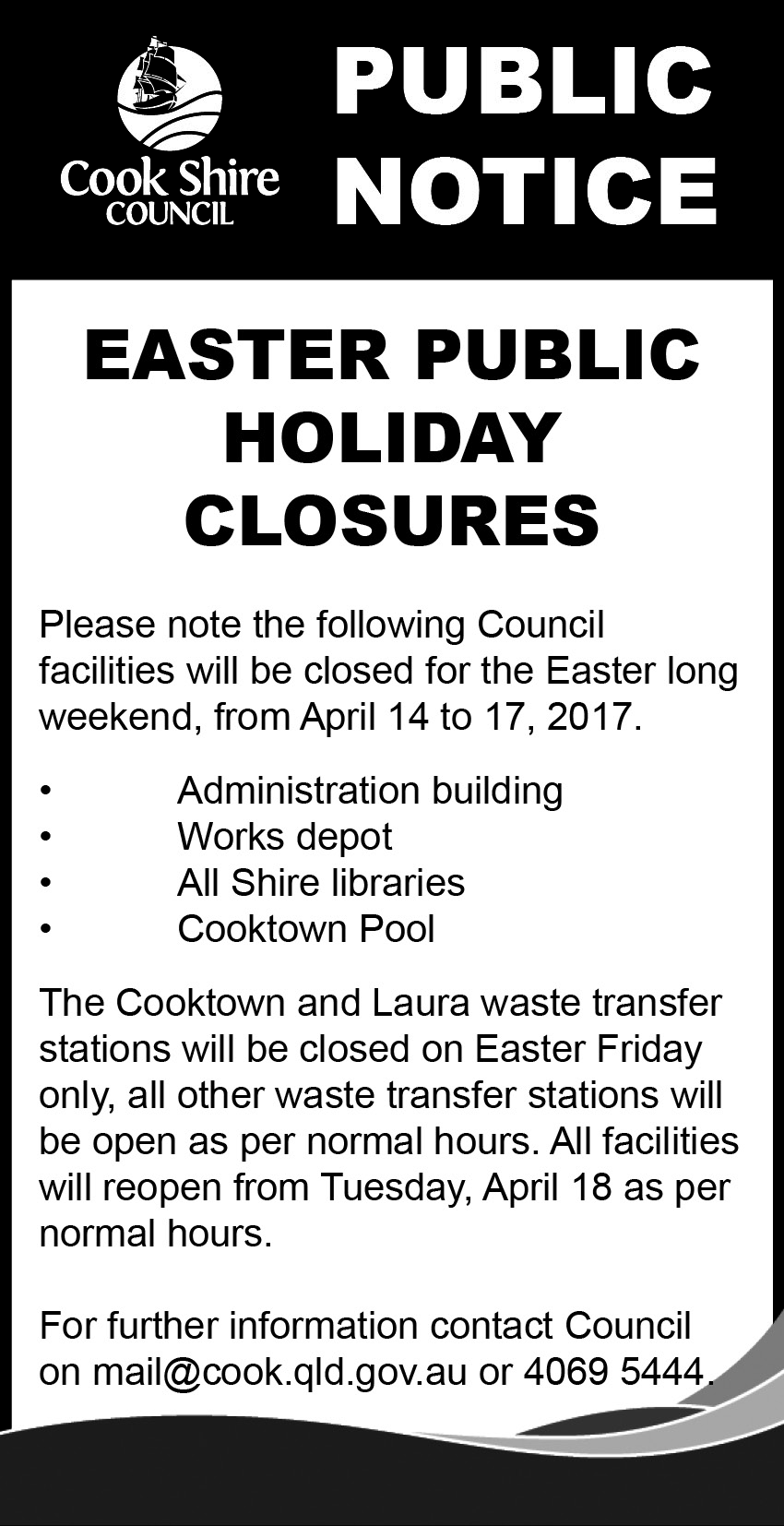 Cape York News April 5 and 12 2017 easter public holiday hours.jpg