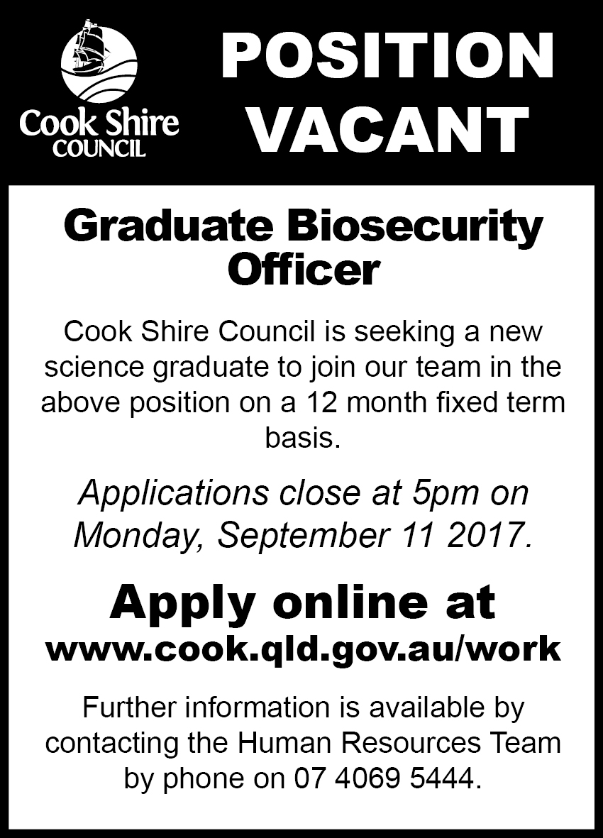 Cape York News August 16 2017 position vacant graduate biosecurity officer.jpg
