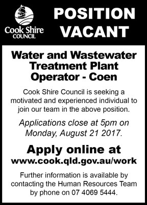 Cape York News August 2 2017 position vacant Coen Water and Wastewater.jpg