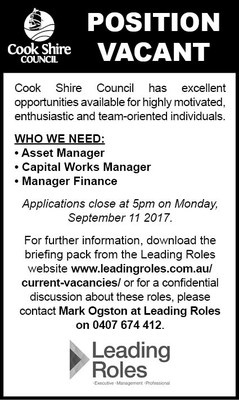 Cape York News August 30 2017 position vacant asset manager, capital works manager, finance manager.jpg