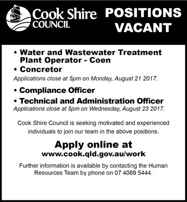 Cape York News August 9 2017 position vacant Coen water operator, concretor, compliance officer and technical administration officer.jpg