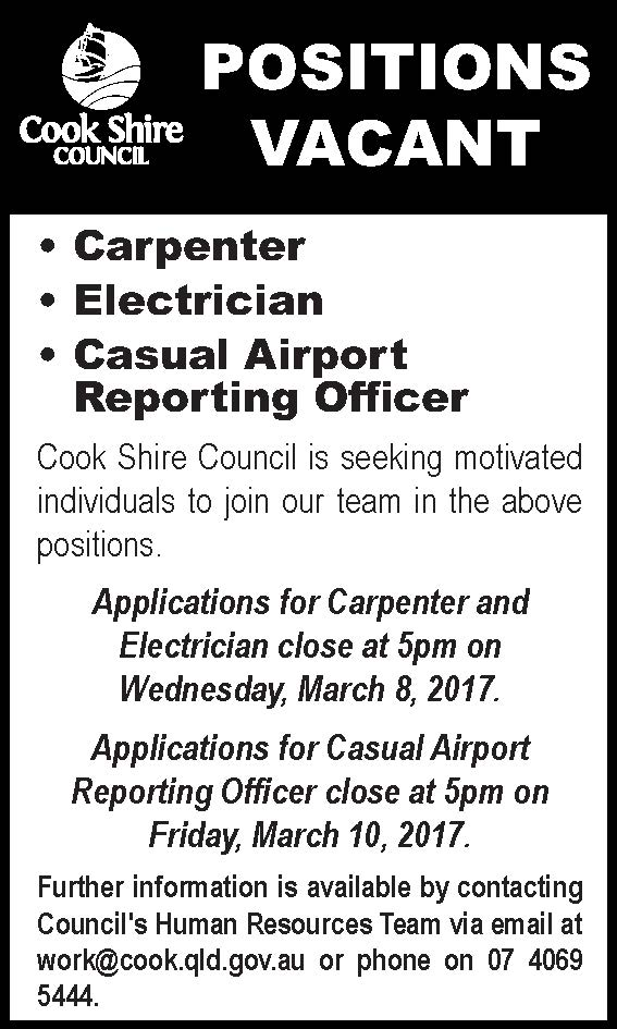 Position vacant carpenter, electrician, casual airport reporting officer