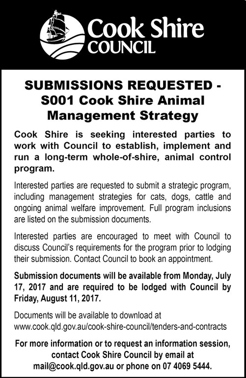 Cape York News July 12 2017 Cook Shire animal management strategy submissions S001.jpg