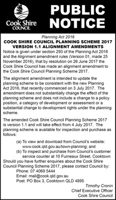 Cape York News July 12 2017 Cook Shire Planning Scheme 2017 version 1.1 alignment amendments.jpg