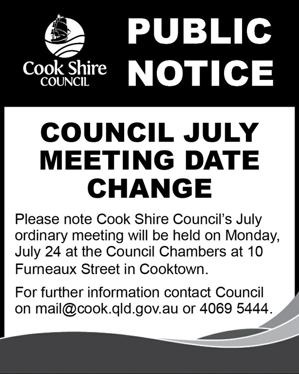 Cape York News July 12 and 19 2017 Council July general meeting date change.jpg