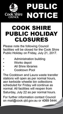 Cape York News July 12 and 19 2017 easter public holiday hours.jpg