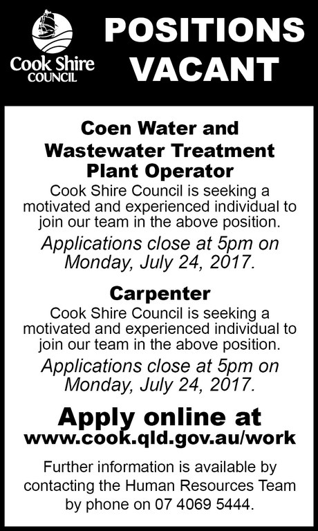 Cape York News July 12 and 19 2017 position vacant water and wastewater operator and carpenter.jpg