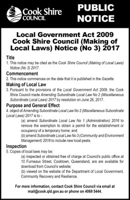 Cape York News July 19 2017 Amendment Local Law No 3 public notice.jpg