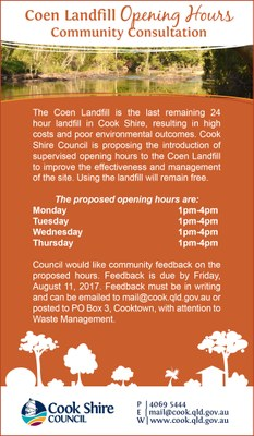 Cape York News July 26 2017 Coen landfill opening hours community consultation.jpg