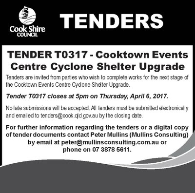 Tender T0317 - Cooktown Events Centre Cyclone Shelter Upgrade