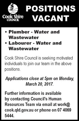 Position vacant plumber and labourer - water and wastewater