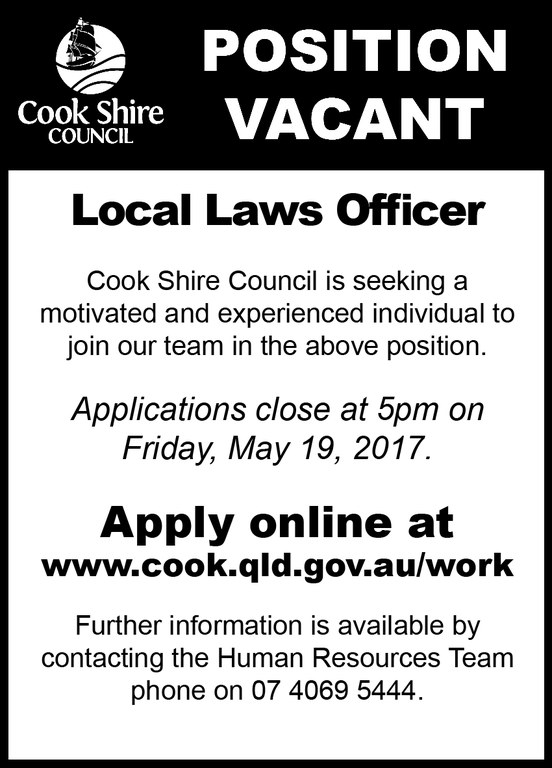 Cape York News May 10 2017 position vacant local laws officer.jpg