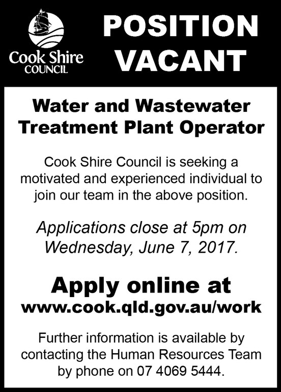 Cape York News May 24 2017 position vacant water and wastewater operator.jpg