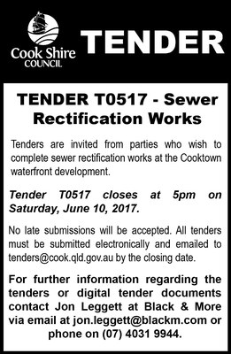 Cape York News May 24 2017 tender T0517 sewer rectification works waterfront.jpg