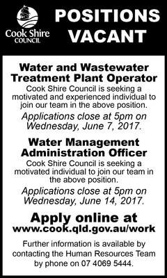 Cape York News May 31 2017 position vacant water and wastewater operator and waste management admin officer.jpg