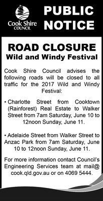 Cape York News May 31 and June 7 2017 Wild and Windy Festival road closures.jpg