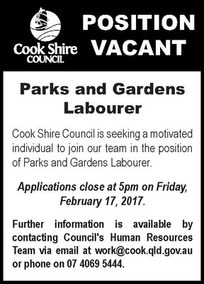 Position vacant Parks and Gardens Labourer
