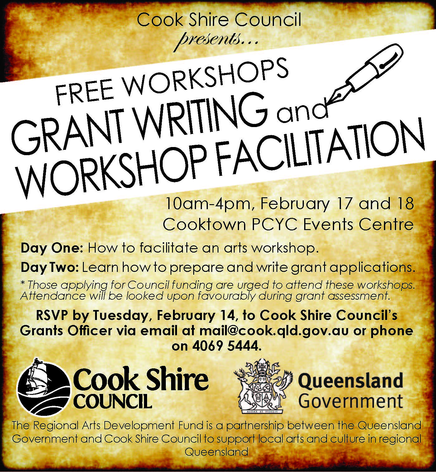 Grant writing and event facilitation workshops