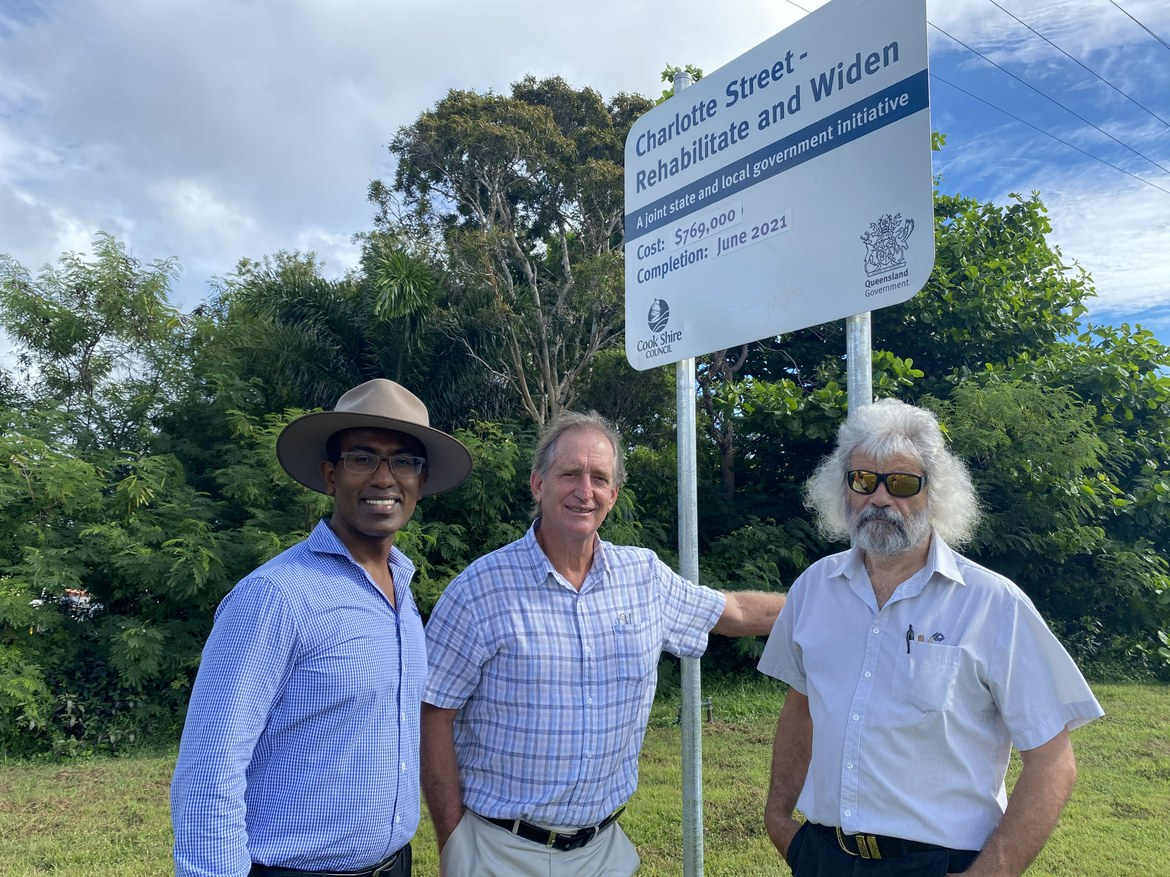 Project Engineer, Manohar Rajashekhar, Cook Shire Mayor Peter Scott, and Director of Infrastructure, David Klye meet onsite to discuss the commencement of the revitalisation of Charlotte Street in Cooktown.
