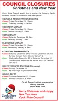 Christmas and New Year's opening hours