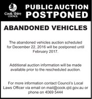 Public notice abandoned vehicles auction postponed