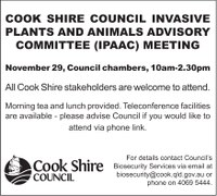 Cook Shire Council Invasive Plants and Animals Advisory Committee (IPAAC) Meeting