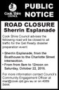 Road Closure - Sherrin Esplanade