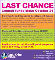 Last chance for Council funding - close October 21