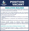 Position Vacant Qualifed Builder