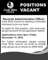 Position Vacant Records Administration Officer