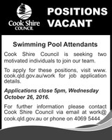Positions Vacant Swimming Pool Attendants