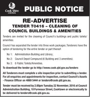 RE-ADVERTISE TENDER T0416 – Cleaning of Council Buildings & Amenities