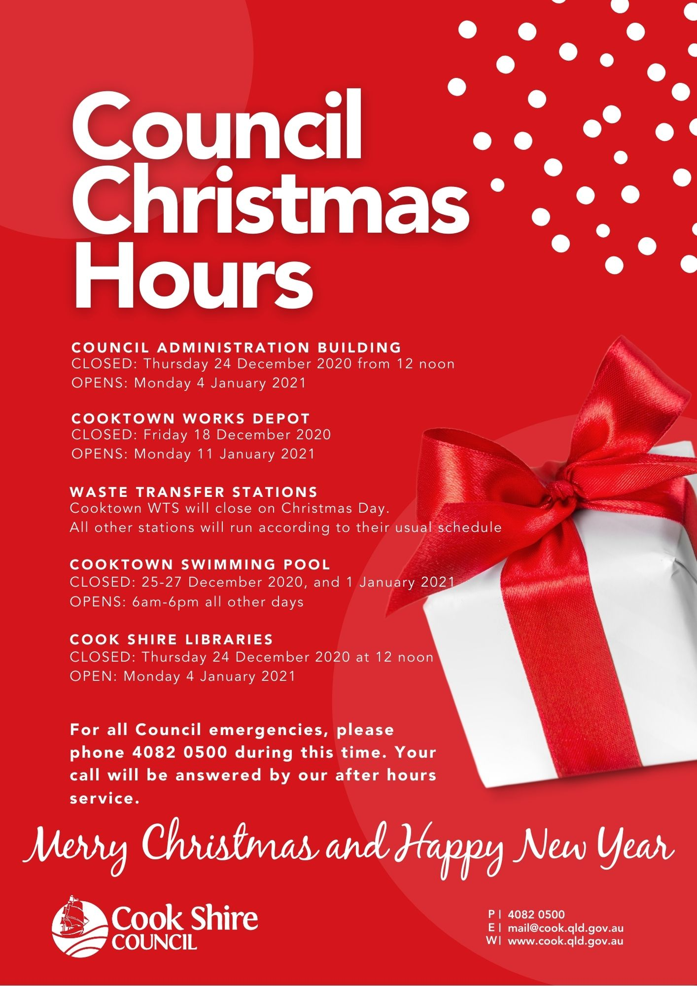 Council's Christmas Hours 2020