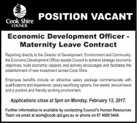 Position vacant economic development officer maternity leave contract