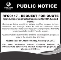 RFQ0117 request for quotes - stand alone contracted gangers (NDRRA funded works)