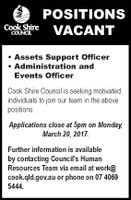 Position vacant assets support officer, administration and events officer