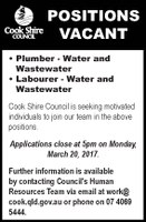Positions vacant plumber and labourer - water and wastewater